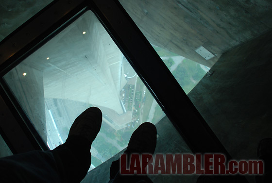 The glass floor of the CN Tower's lower level lookout, 342m (1,122ft) above ground level